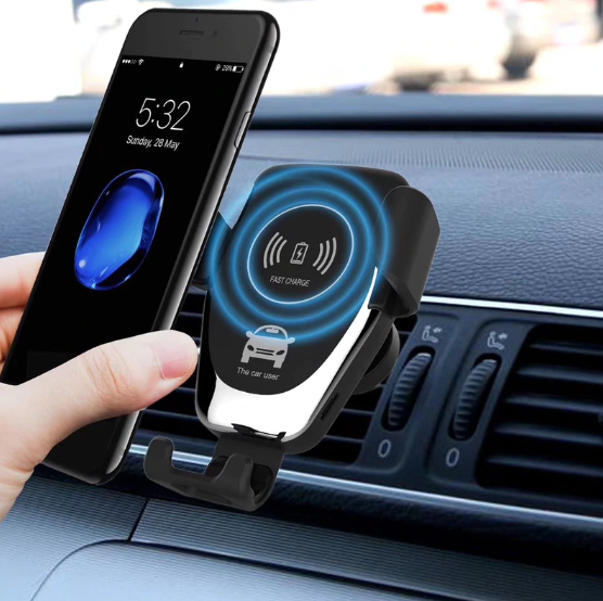 Suport de telefon auto cu incarcare wireless, GMO, 10W, negru 2