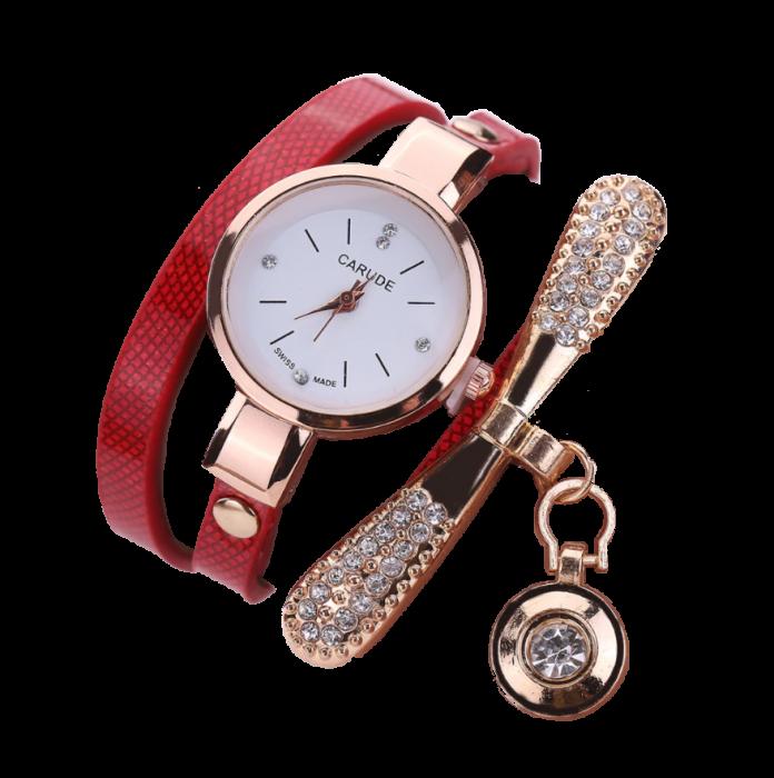 Ceas pentru fete, GMO, cu bratara din piele si decoratiuni stralucitoare, reglabil, rosu [0]
