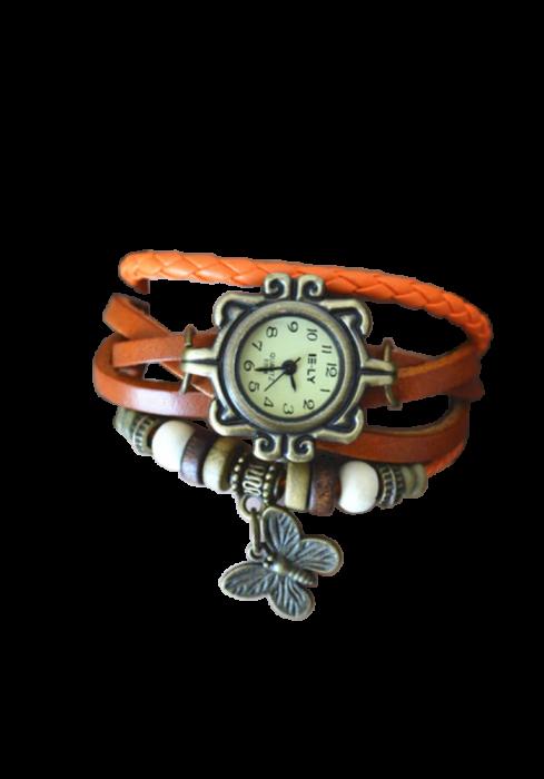 Ceas pentru fete, GMO, Vintage, cu bratara din piele si decoratiuni, reglabil, portocaliu [1]