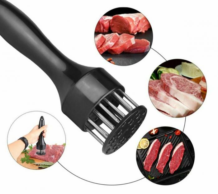 Dispozitiv din otel inoxidabil pentru fragezit carnea, ADM, Meet Tenderizer, negru [1]