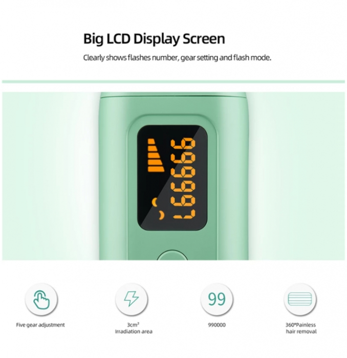 Epilator IPL GMO, MT118L-EU, 990.000 pulsatii, display LCD, lungime cap epilator 3.5 cm, intinerire piele si epilare, 5 trepte de viteza, tub lumina quarz, automat , epilare definitiva, senzor nuanta piele, verde [1]