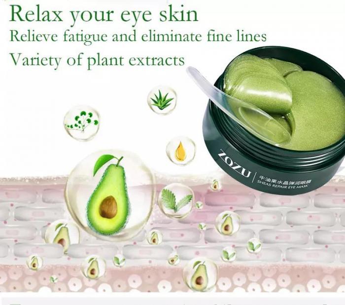 Masca hydrogel pentru ochi, ADM, cu extract de avocado, anticearcane, 60 bucati [3]