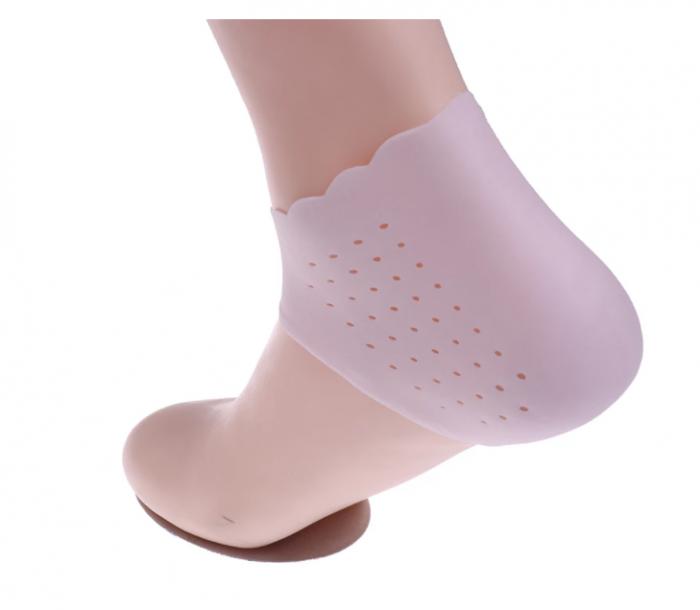 Set pernute din silicon cu gel protector si hidratant pentru calcaie, GMO, Heel Socks, roz 2