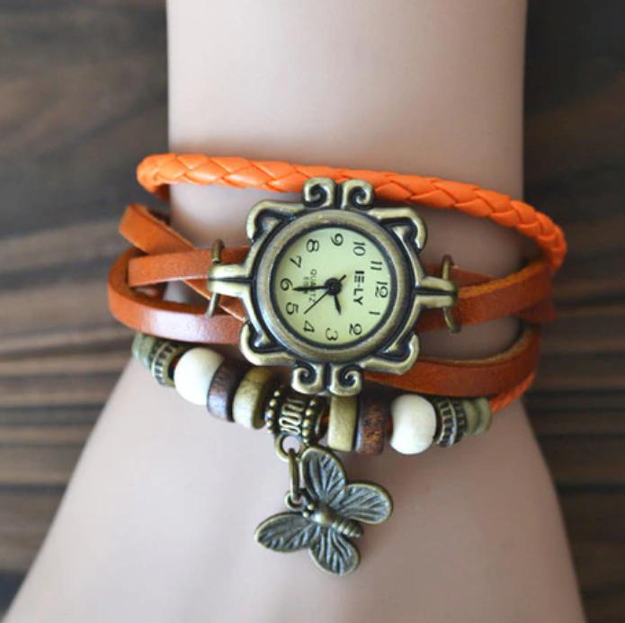 Ceas pentru fete, GMO, Vintage, cu bratara din piele si decoratiuni, reglabil, portocaliu [0]