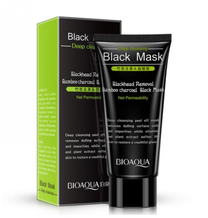 Masca neagra pentru fata impotriva cosurilor si punctelor negre, GMO, Bioaqua, 50 ml [0]