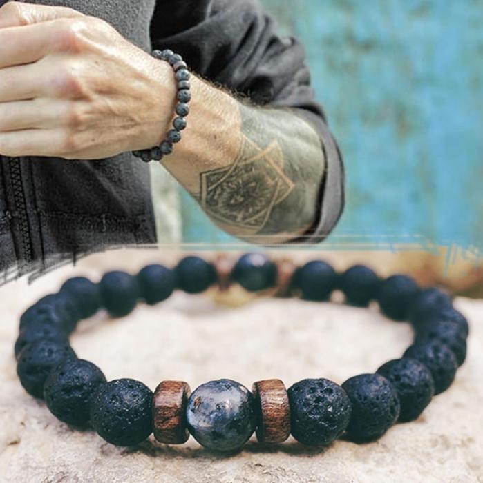 Bratara pentru barbati handmade cu talisman pentru dragoste, GMO, Mcllroy, neagra 1