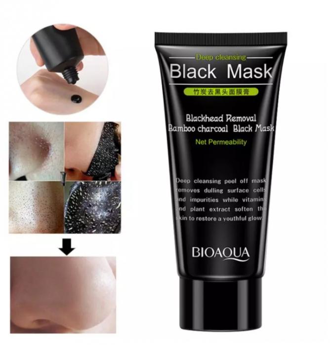 Masca neagra pentru fata impotriva cosurilor si punctelor negre, GMO, Bioaqua, 50 ml [1]