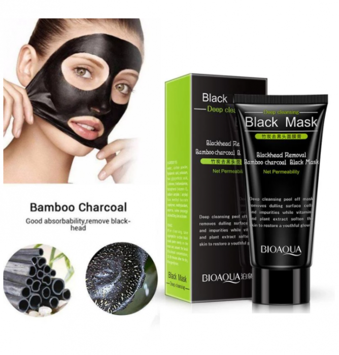 Masca neagra pentru fata impotriva cosurilor si punctelor negre, GMO, Bioaqua, 50 ml [2]