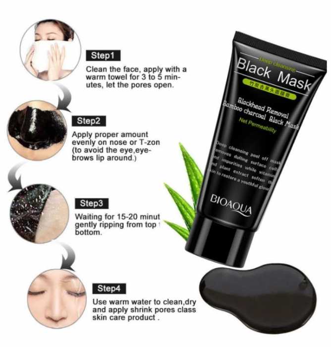 Masca neagra pentru fata impotriva cosurilor si punctelor negre, GMO, Bioaqua, 50 ml [3]