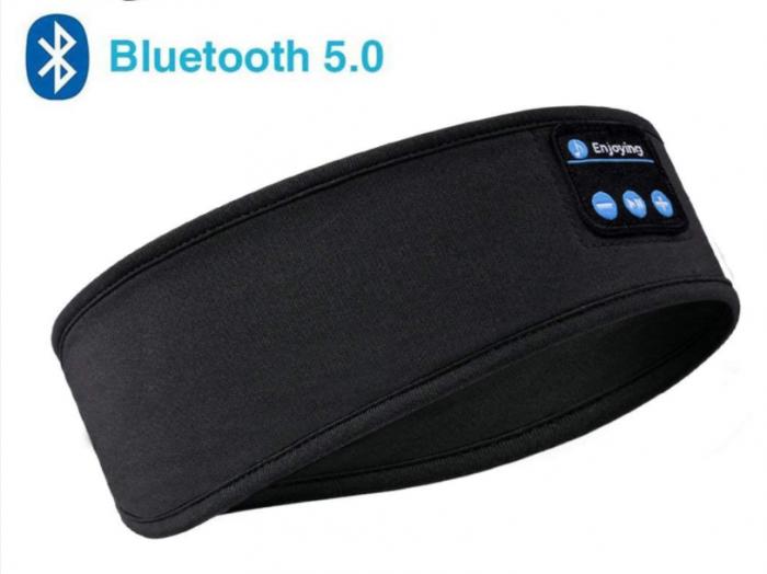 Bentita sport pentru alergat, GMO, Music & Run, cu bluethooth 5.0 si microfon incorporat, neagra [1]