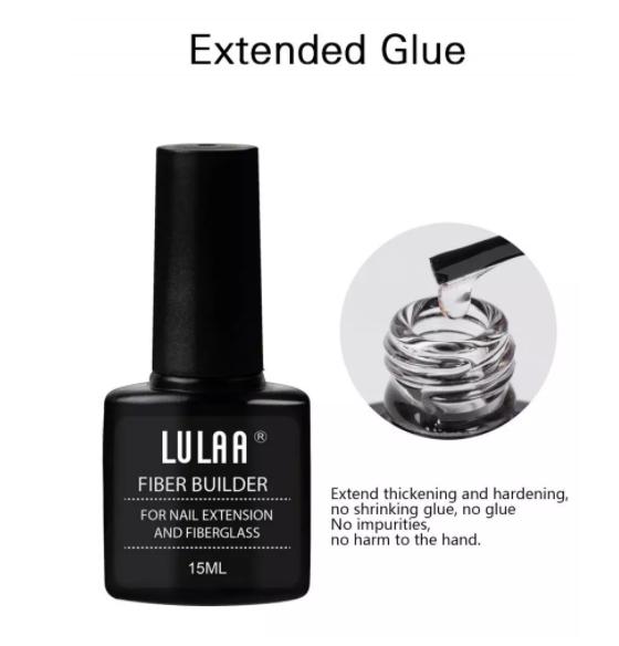 Gel cu fibra de sticla pentru intarire si constructie unghii, Lulaa Fiberglass, 15 ml + 10 bucati fiberglass cadou 5