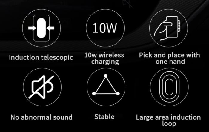 Suport de telefon auto cu incarcare wireless, GMO, 10W, negru [5]