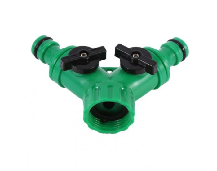 """Valva adaptoare pentru robinet cu doua iesiri 3/4"""", verde 0"""