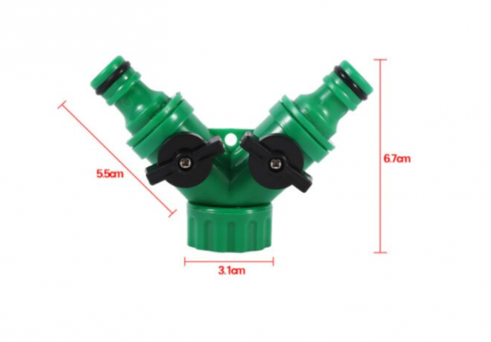 """Valva adaptoare pentru robinet cu doua iesiri 3/4"""", verde 3"""