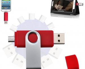 Stick de memorie cu USB 2.0 si micro USB, GMO, 32GB, rosu4
