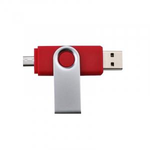 Stick de memorie cu USB 2.0 si micro USB, GMO, 32GB, rosu0