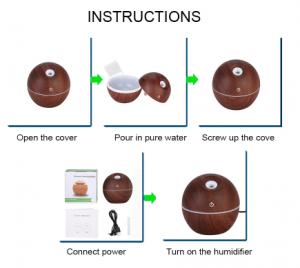 Umidificator de aer prin ultrasunete, GMO, Aromaterapie, imitatie lemn [1]