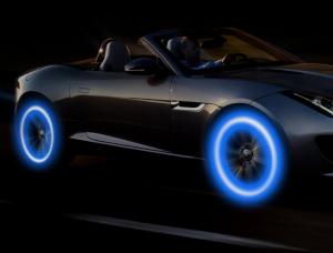 Set doua bucati capace ventil cu senzor, baterii si lumina LED albastra, RunGlow4