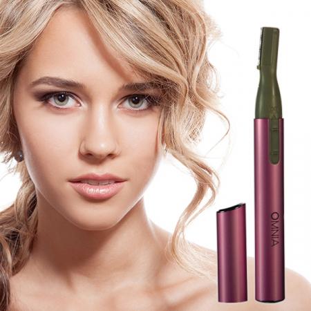 Trimmer electric facial de precizie, GMO, Omnia Fine, cu perie si instrument pentru curatare incluse, roz1
