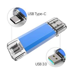 Stick de memorie cu USB 3.0 si USB Type C, GMO, albastru, 32GB1