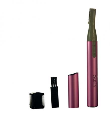 Trimmer electric facial de precizie, GMO, Omnia Fine, cu perie si instrument pentru curatare incluse, roz [0]