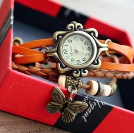 Ceas pentru fete, GMO, Vintage, cu bratara din piele si decoratiuni, reglabil, portocaliu [2]