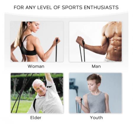 Coarda extensibila pentru antrenament fitness, GMO, cu prinderi multiple3
