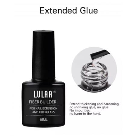 Gel cu fibra de sticla pentru intarire si constructie unghii, Lulaa Fiberglass, 15 ml + 10 bucati fiberglass cadou5