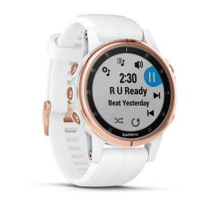 Ceas Garmin Fenix 5S Plus Sapphire Rose Gold, White Band2