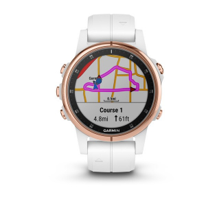 Ceas Garmin Fenix 5S Plus Sapphire Rose Gold, White Band1