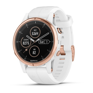 Ceas Garmin Fenix 5S Plus Sapphire Rose Gold, White Band0