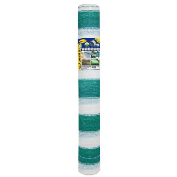 Plasa umbrire 2x10 m - verde + alb - 80 g/mp 0