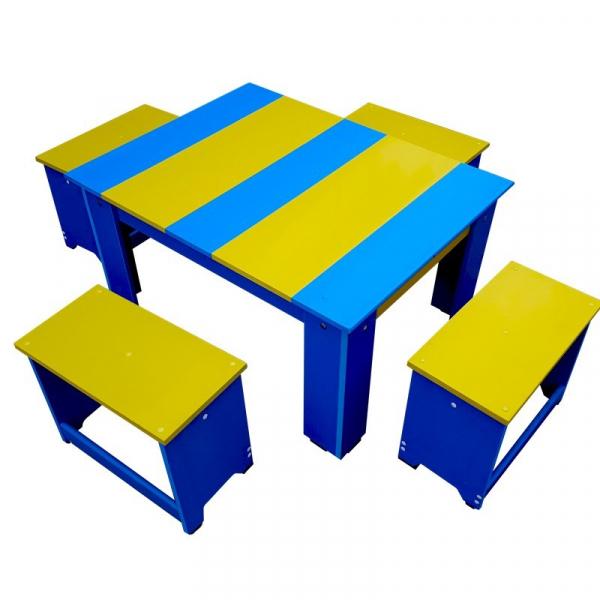 Set măsuță din pvc cu scăunele tip băncuțe pentru exterior 0