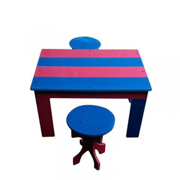 Masă multicoloră cu doi tabureți 0