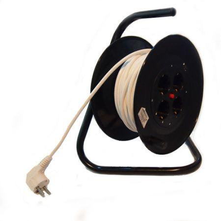 Prelungitor cu tambur 4 prize schuko 50 metri, cablu 3x1.5mm 0