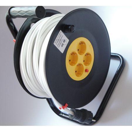 Prelungitor cu tambur 4 prize schuko 50 metri, cablu 3x2.5mm 2