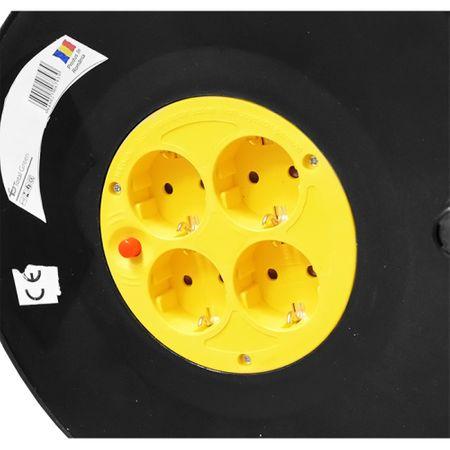 Prelungitor cu tambur 4 prize schuko 50 metri, cablu 3x1.5mm 1