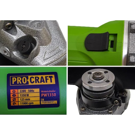 Polizor unghiular Procraft PW1350, 1350W, 11000Rpm [1]