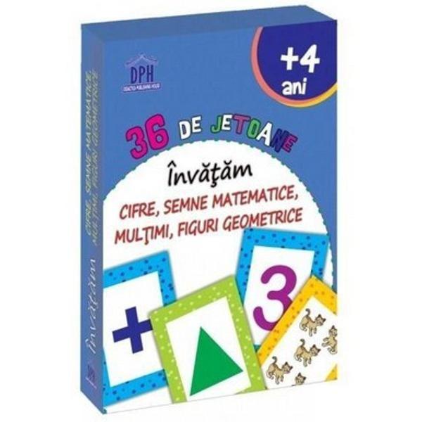 36 de jetoane - Invatam cifre, semne matematice, multimi, figuri geometrice (+4 ani) 0