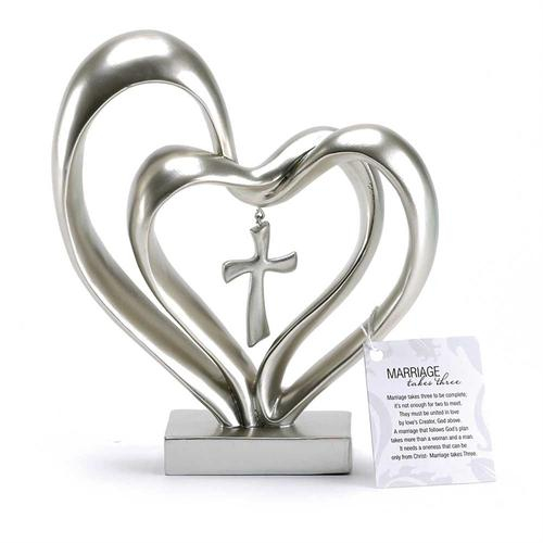 Double heart with cross - Silver color [0]
