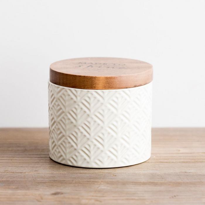 Caseta ceramica cu capac din lemn - Made to Shine 1