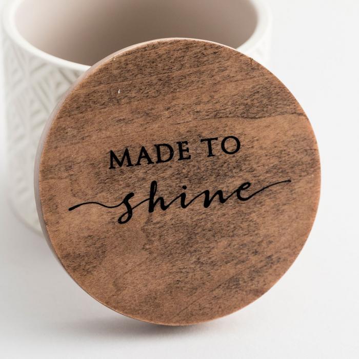Caseta ceramica cu capac din lemn - Made to Shine 2