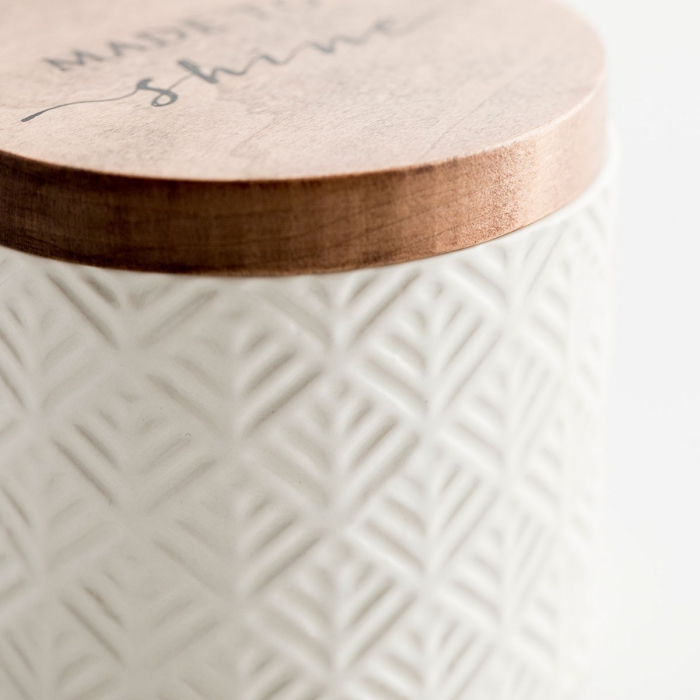 Caseta ceramica cu capac din lemn - Made to Shine 3