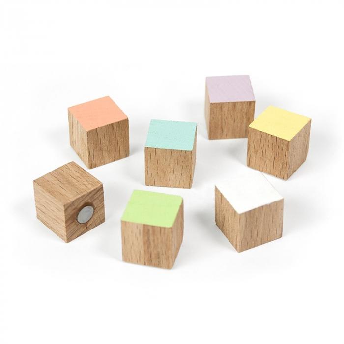 Magneti din lemn - cub - TIMBER (7 buc/set) 0