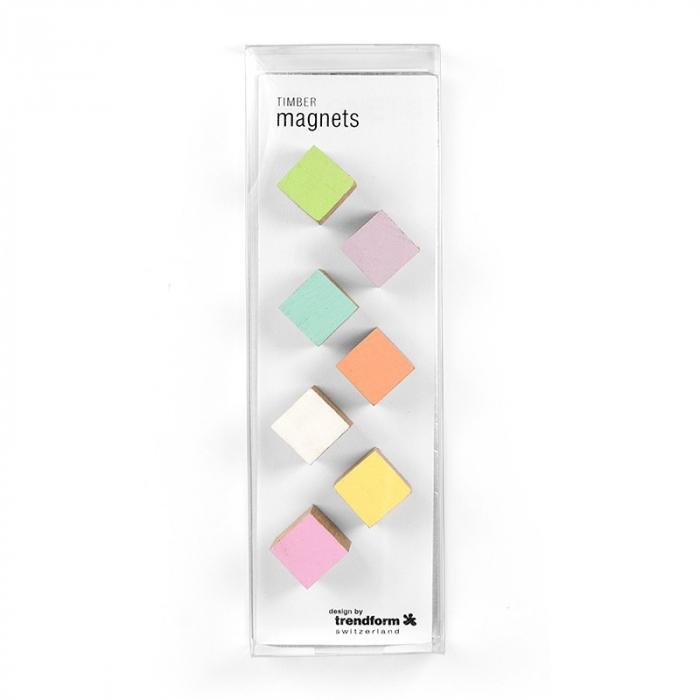 Magneti din lemn - cub - TIMBER (7 buc/set) 1