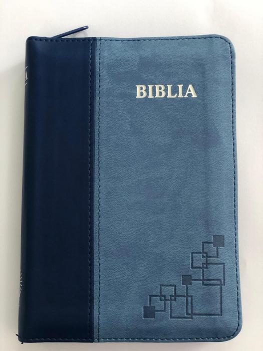 Biblie mica de lux, nuante de albastru, fermoar, margini argintate si index de cautare
