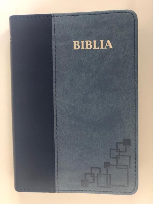 Biblie mica de lux, nuante de albastru, margini argintate si index de cautare 0