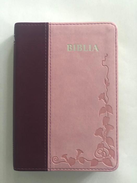 Biblie mica de lux, nuante de roz, margini argintate si index de cautare 0