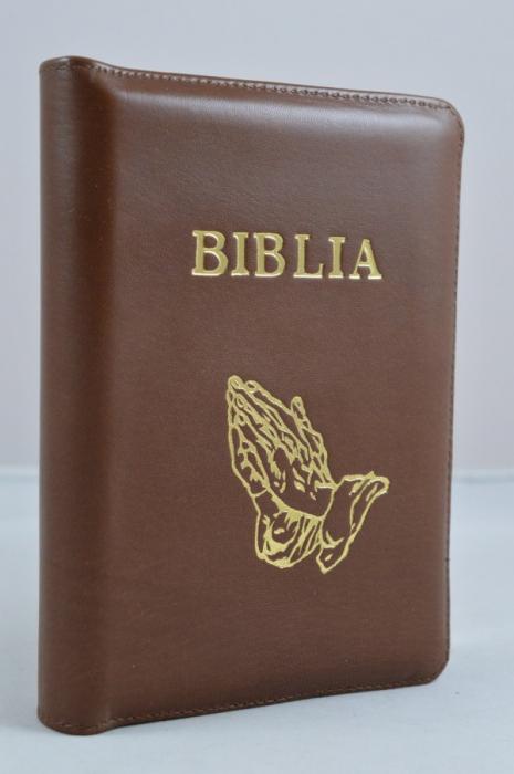 Biblie mica (maro, piele si fermoar)