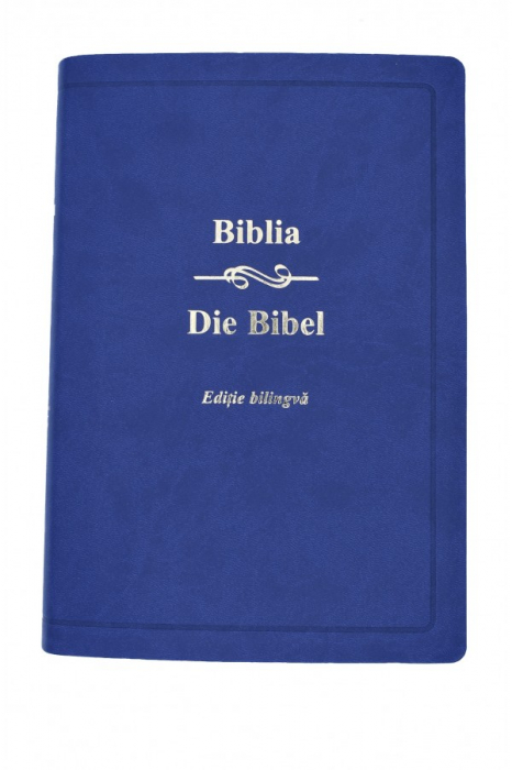Biblia - editie bilingva romana-germana -  albastru 0